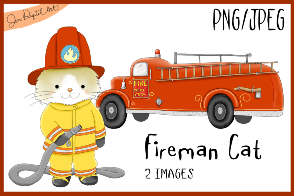 Fireman Cat, Firetruck, Clipart Illustration Graphic By Jen Digital Art