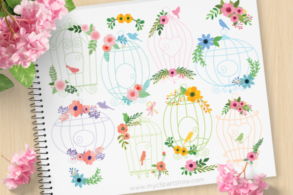 Print on Demand: Floral Bird Cages Clipart Graphic Illustrations By MyClipArtStore