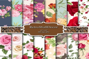 Floral Digital Paper Graphic By retrowalldecor