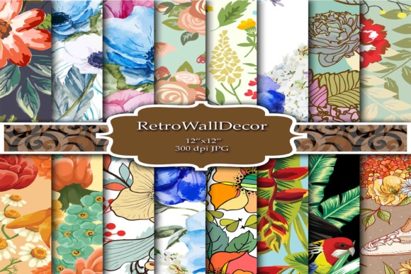 Print on Demand: Floral Digital Papers Graphic Backgrounds By retrowalldecor