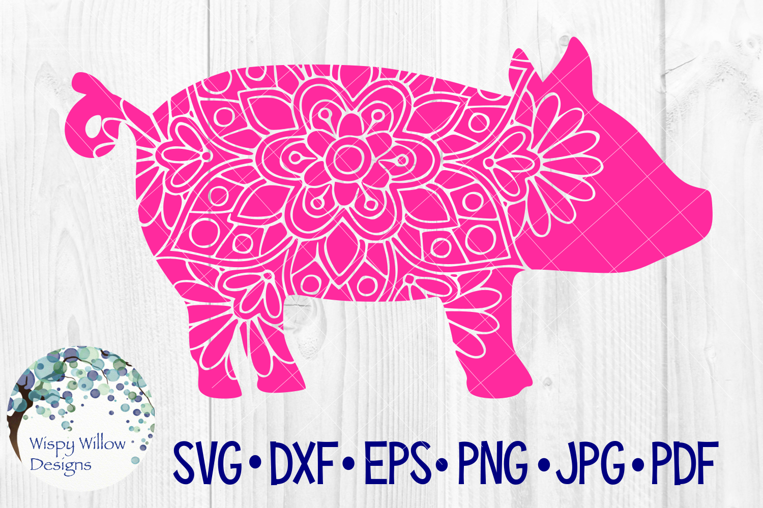 Download Free Floral Pig Mandala Graphic By Wispywillowdesigns Creative Fabrica for Cricut Explore, Silhouette and other cutting machines.