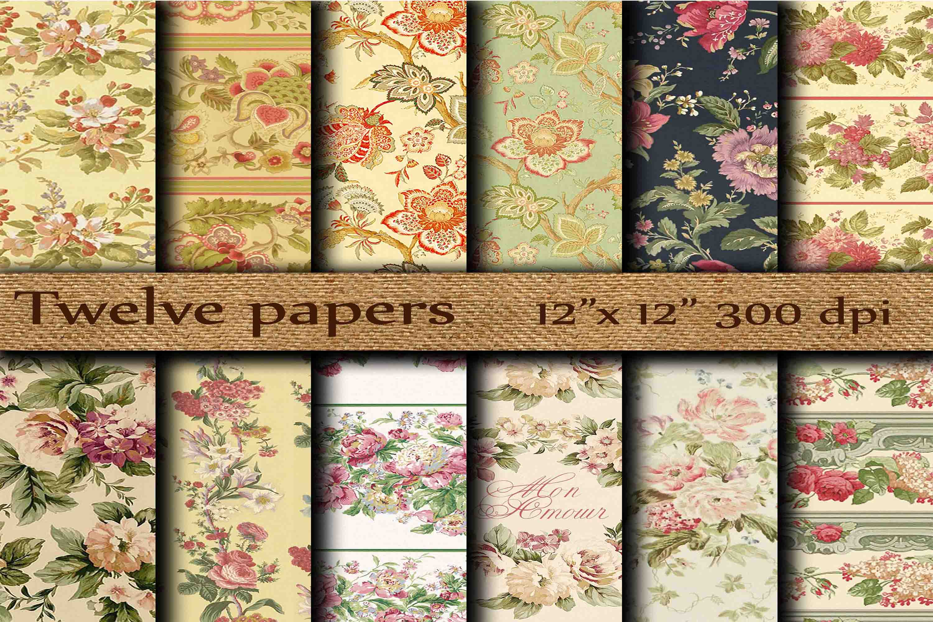 Download Free Floral Digital Papers Graphic By Twelvepapers Creative Fabrica for Cricut Explore, Silhouette and other cutting machines.
