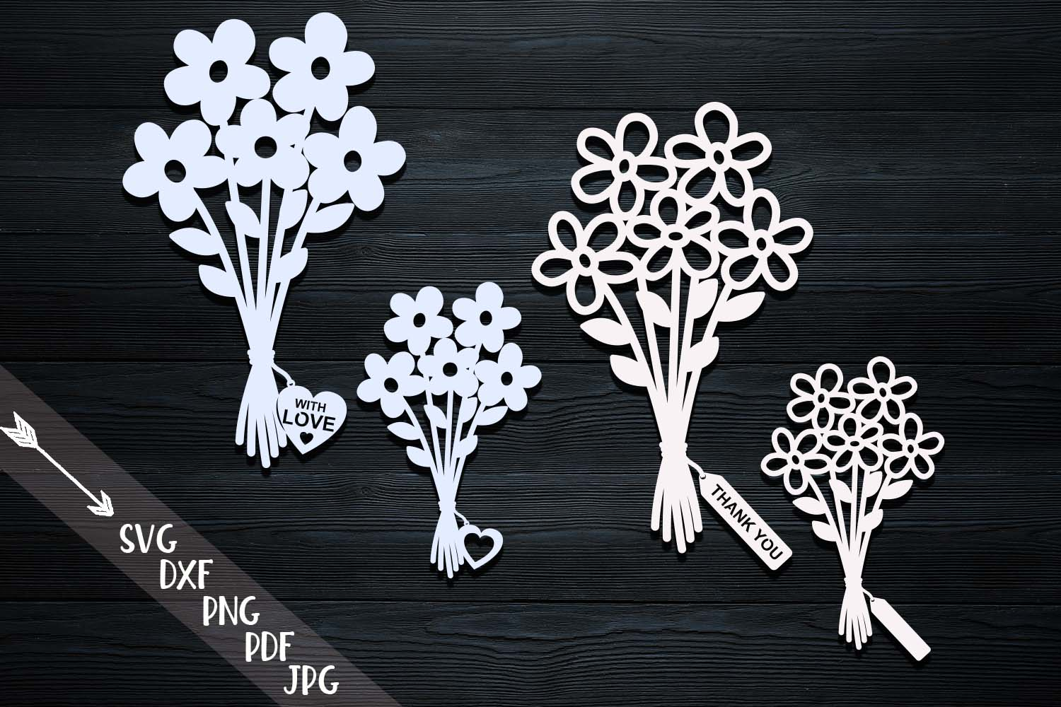 Flowers Bouquets with Tags SVG File