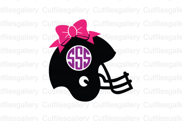 Download Free Football Helmet Bow Monogram Cut File Graphic By Cutfilesgallery for Cricut Explore, Silhouette and other cutting machines.