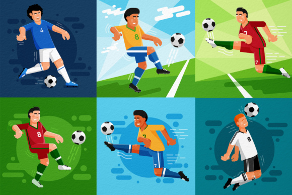 Football Players Set Graphic Illustrations By Agor2012