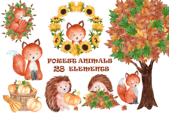 Forest Animals Clipart Graphic Illustrations By vivastarkids