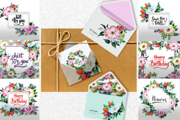Print on Demand: Four Wonderful Bouquet Flowers PNG Watercolor Set  Graphic Illustrations By MyStocks - Image 3