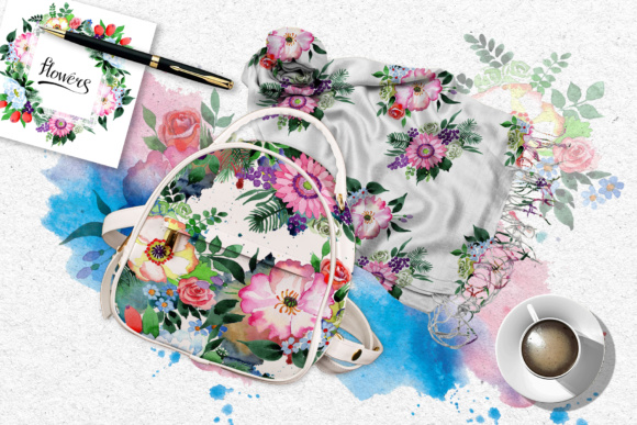 Print on Demand: Four Wonderful Bouquet Flowers PNG Watercolor Set  Graphic Illustrations By MyStocks - Image 4
