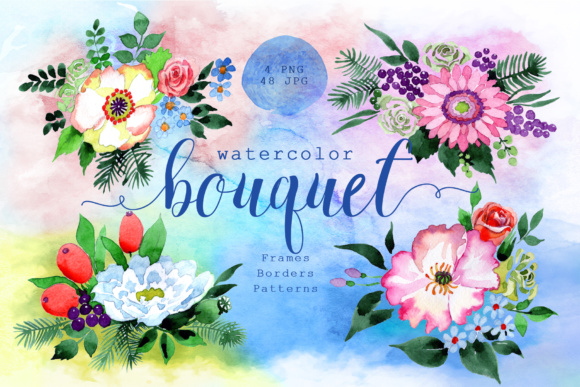 Print on Demand: Four Wonderful Bouquet Flowers PNG Watercolor Set  Graphic Illustrations By MyStocks - Image 1