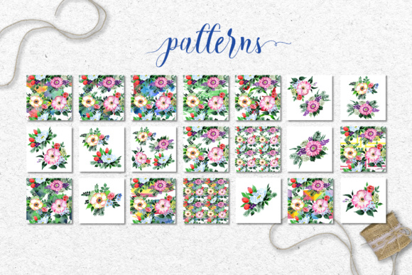 Print on Demand: Four Wonderful Bouquet Flowers PNG Watercolor Set  Graphic Illustrations By MyStocks - Image 9