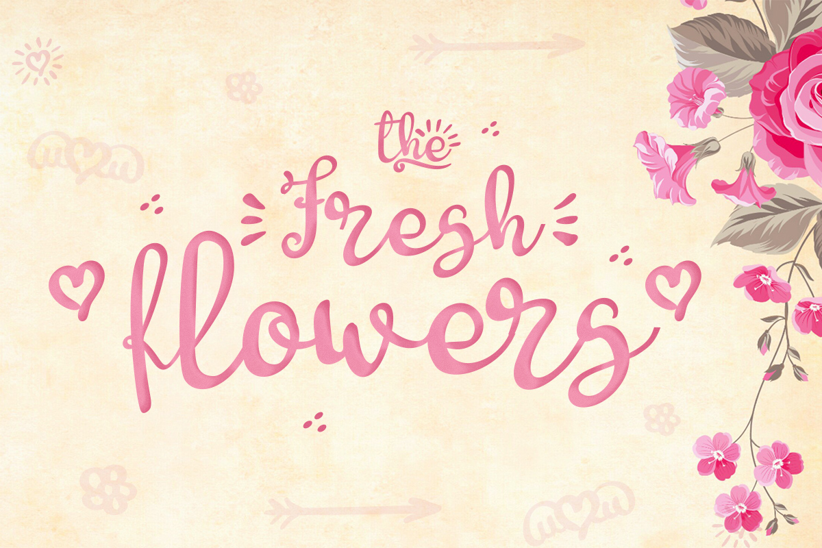 Download Free Fresh Flowers Font By Lickable Pixels Creative Fabrica for Cricut Explore, Silhouette and other cutting machines.