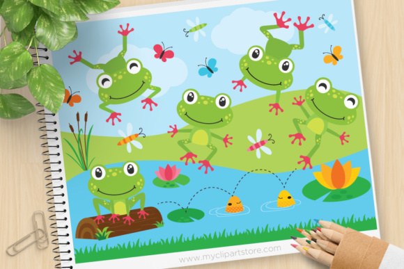 Print on Demand: Frog on a Log Animals Clipart Graphic Illustrations By MyClipArtStore