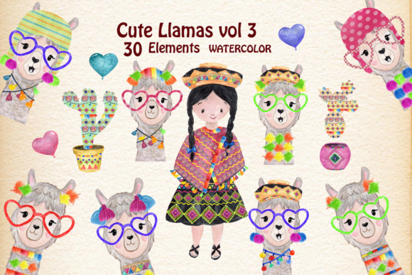 Funny Llama, Animal Clipart Graphic Illustrations By vivastarkids