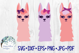 Download Free Girly Llama Trio Bundle Set Graphic By Wispywillowdesigns for Cricut Explore, Silhouette and other cutting machines.
