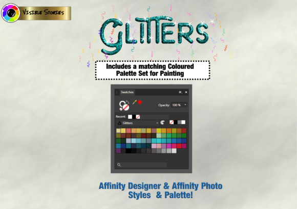 Print on Demand: Glitters Designers Kit for Affinity Photo & Affinity Designer Graphic Actions & Presets By Angela H. Evans - Image 3