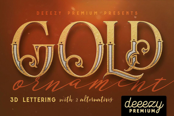 Print on Demand: Golden Ornament- 3D Lettering Graphic Objects By JumboDesign