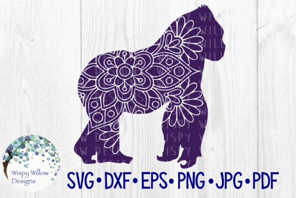 Download Free Gorilla Floral Mandala Animal Jungle Zentangle Graphic By for Cricut Explore, Silhouette and other cutting machines.