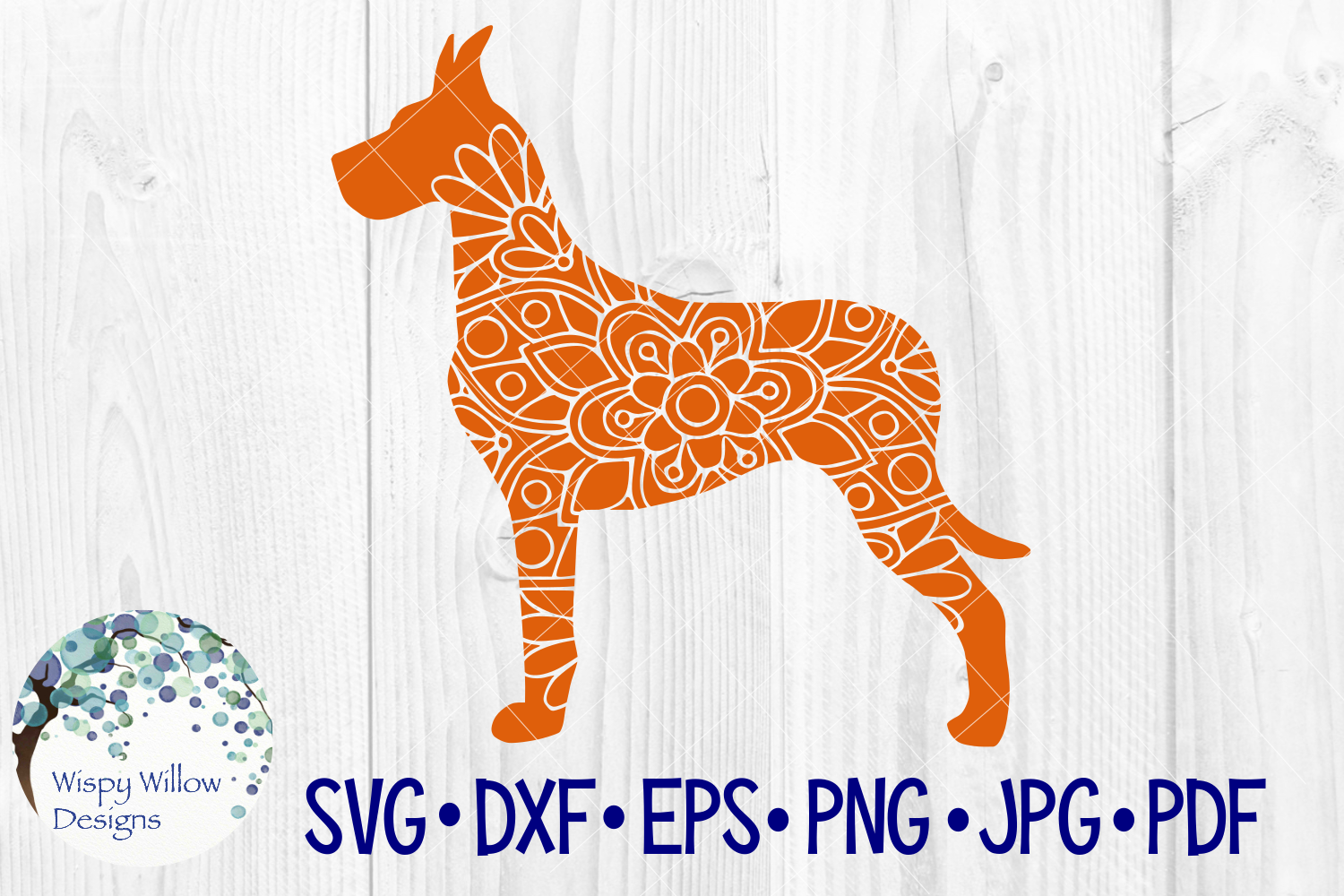 Download Free Great Dane Dog Animal Mandala Graphic By Wispywillowdesigns for Cricut Explore, Silhouette and other cutting machines.