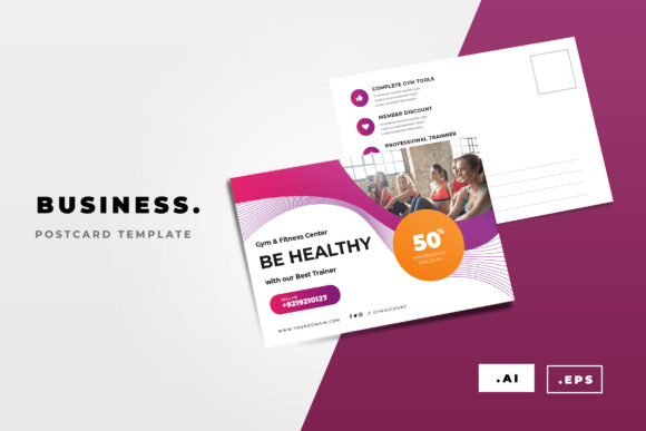 Gym Postcard Graphic Print Templates By TMint