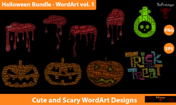 Download Free Halloween Bundle Wordart Vol 1 Graphic By Theprototype for Cricut Explore, Silhouette and other cutting machines.