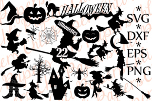 Download Free Halloween Silhouette Bundle Graphic By Chilipapers Creative for Cricut Explore, Silhouette and other cutting machines.
