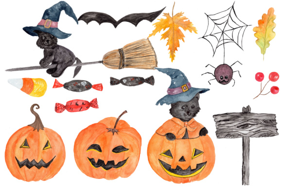halloween clipart watercolor pumpkin clipart jack o lanterns trick