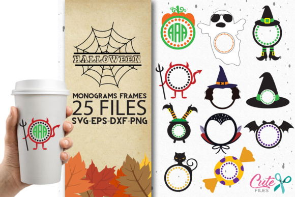 25 Halloween Themed Monogram Frames Graphic By Cute Files