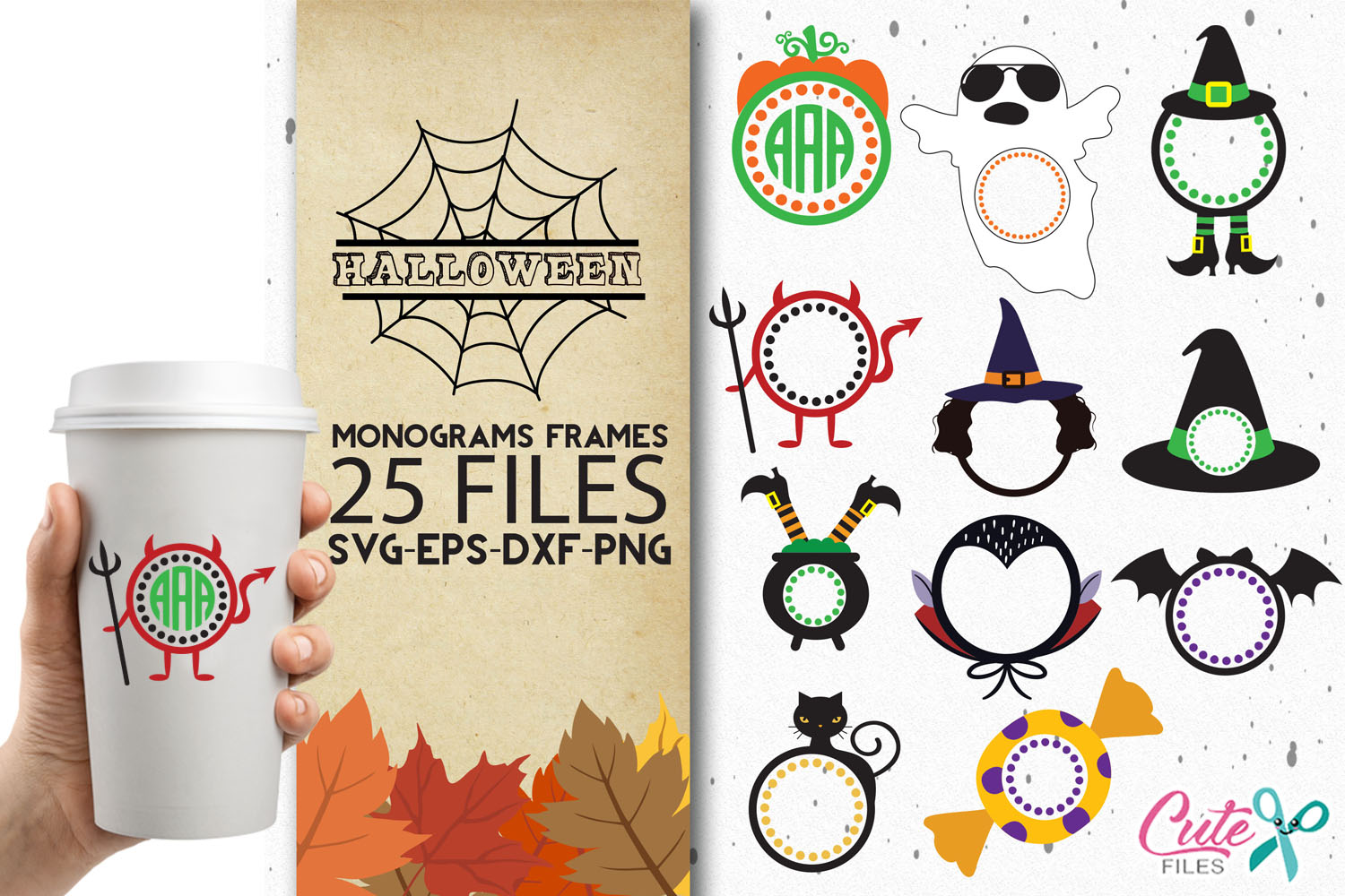25 halloween themed monogram frames graphiccute files - creative