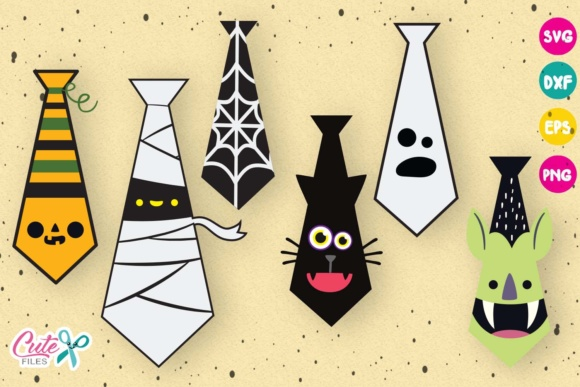 Download Free 10 Halloween Themed Ties Graphic By Cute Files Creative Fabrica for Cricut Explore, Silhouette and other cutting machines.