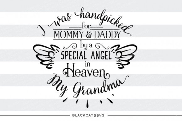 Hand Picked for Mommy and Daddy by Grandma Graphic Crafts By BlackCatsMedia