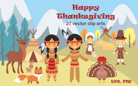 Print on Demand: Happy Thanksgiving - Vector Clip Arts Graphic Illustrations By Olga Belova