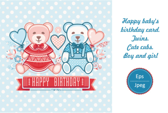 Happy Babys Birthday Boy And Girl Twins Graphic By Zoyali