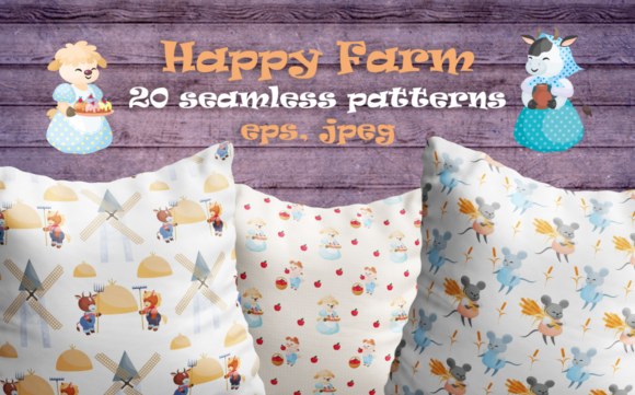 Print on Demand: Happy Farm. Vector Seamless Patterns. Graphic Patterns By Olga Belova