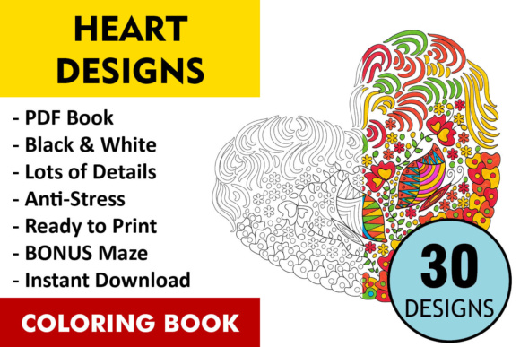 Hearts Coloring Book - 30 Love Coloring Pages Graphic Coloring Pages & Books Adults By ColoringBooks101