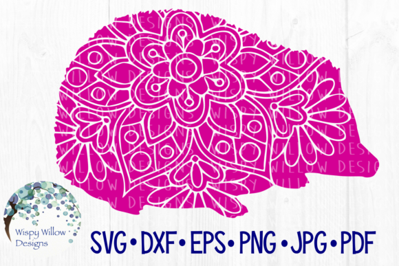 Download Free Hedgehog Floral Mandala Animal Graphic By Wispywillowdesigns for Cricut Explore, Silhouette and other cutting machines.