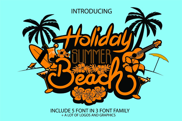 Download Free Holiday Summer Beach Font By Graphix Line Studio Creative Fabrica for Cricut Explore, Silhouette and other cutting machines.