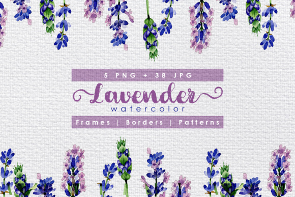 Holiday Purple Lavender Flowers PNG Watercolor Set
