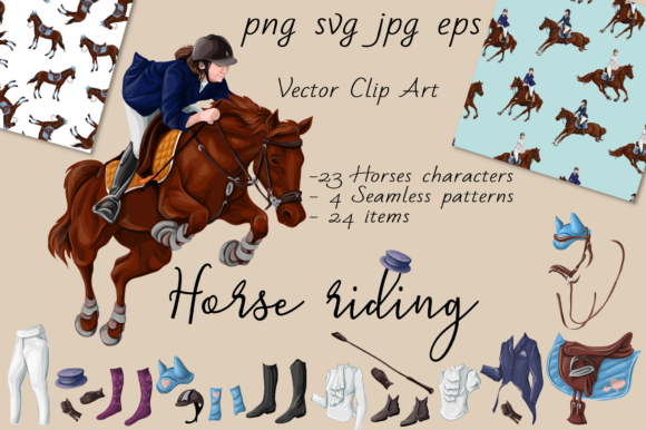 Print on Demand: Horse Riding Graphic Illustrations By nicjulia