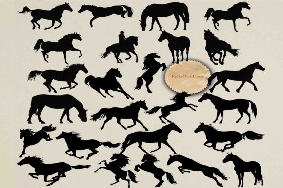 Print on Demand: Horse Silhouette SVG PNG DXF EPS Graphic Illustrations By retrowalldecor