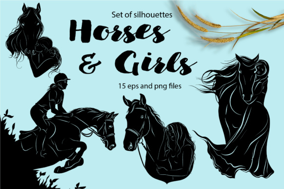 Print on Demand: Horses & Girls - Silhouettes Set Graphic Illustrations By nicjulia