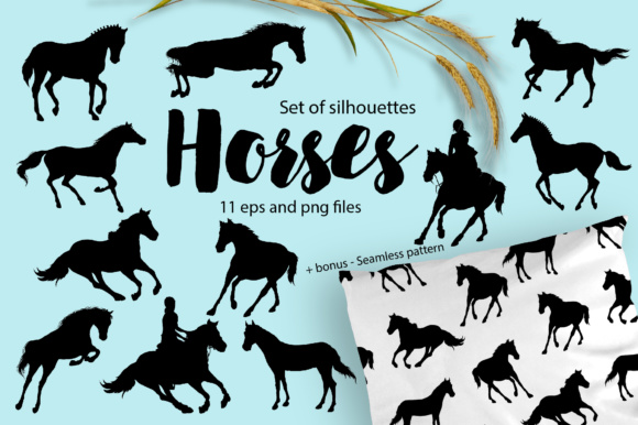 Print on Demand: Horses - Silhouettes Set Graphic Illustrations By nicjulia