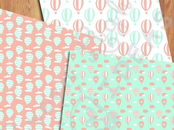 Hot Air Balloons Digital Papers, Mint and Coral Backgrounds Graphic Backgrounds By GreenLightIdeas - Image 2