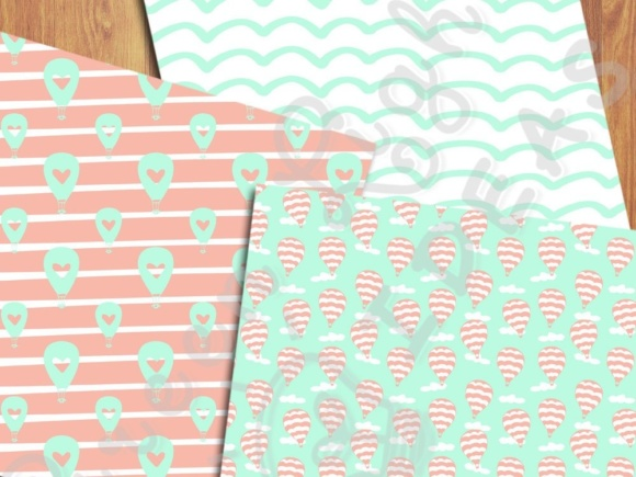 Hot Air Balloons Digital Papers, Mint and Coral Backgrounds Graphic Backgrounds By GreenLightIdeas - Image 3