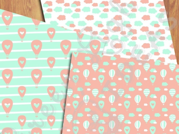 Download Free Hot Air Balloons Digital Papers Mint And Coral Backgrounds for Cricut Explore, Silhouette and other cutting machines.