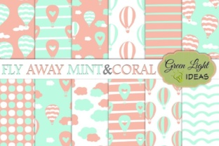 Hot Air Balloons Digital Papers, Mint and Coral Backgrounds Graphic By GreenLightIdeas