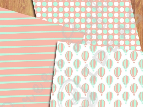 Hot Air Balloons Digital Papers, Mint and Coral Backgrounds Graphic Backgrounds By GreenLightIdeas - Image 5