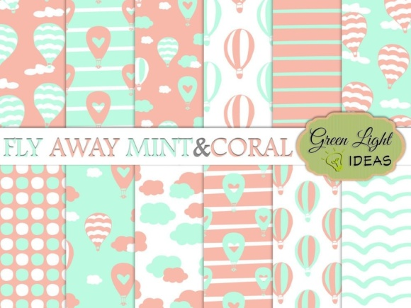 Hot Air Balloons Digital Papers, Mint and Coral Backgrounds Gráfico Fondos Por GreenLightIdeas