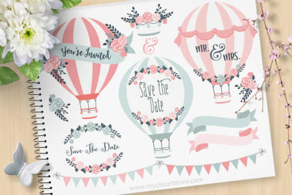Print on Demand: Hot Wedding Air Balloons Graphic Illustrations By MyClipArtStore