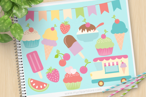 Print on Demand: Ice Cream Truck Clipart Graphic Illustrations By MyClipArtStore