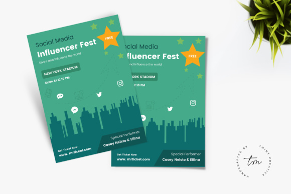 Influencer Party Flyer Graphic Print Templates By TMint